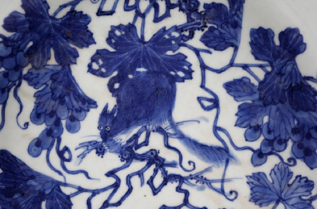 Chinese B & W Squirrel/Grapes Porcelain Plate - 3