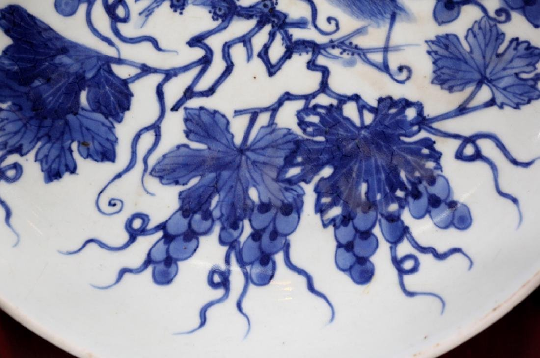 Chinese B & W Squirrel/Grapes Porcelain Plate - 4