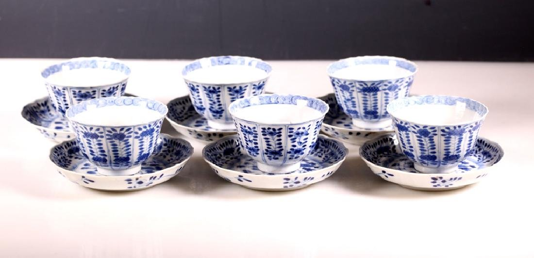 Set 6 Chinese Qing B & W Porcelain Cups & Saucers