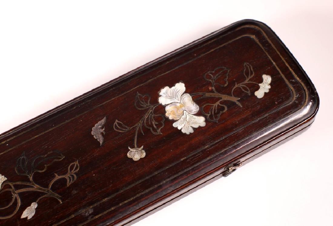 Chinese 19 C Inlaid Black Hardwood Instrument Box - 4