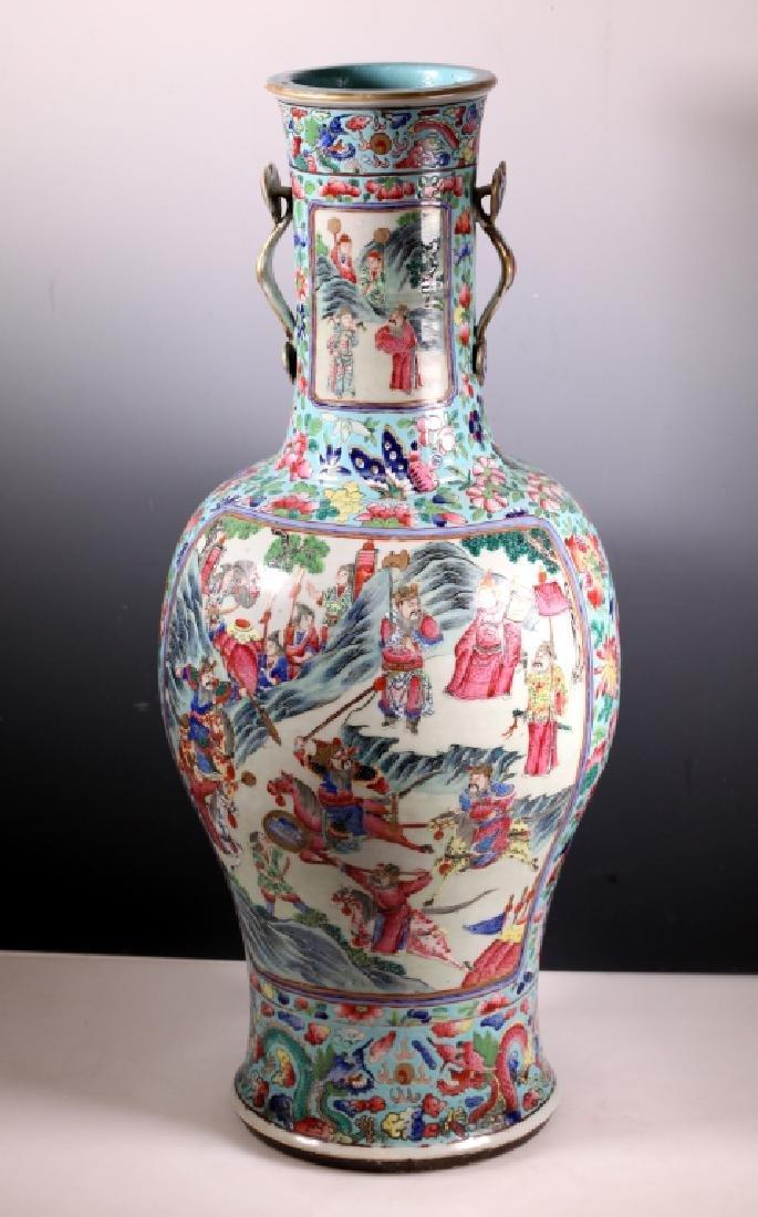 Chinese Early 19 C Mandarin Lg Porcelain Vase