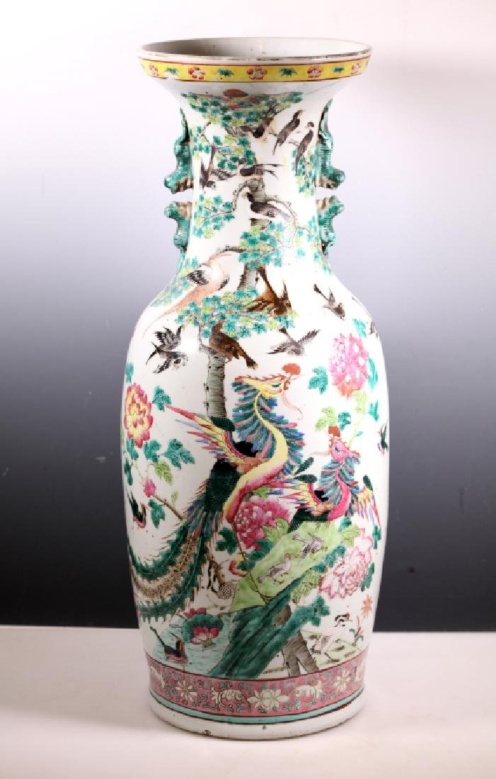 Lg Chinese 19 C Famille Rose Porcelain Bird Vase