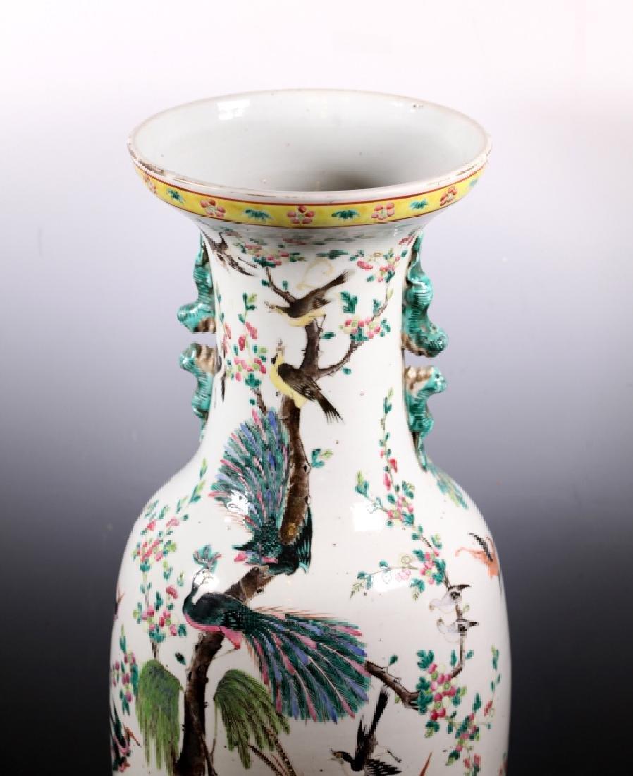 Lg Chinese 19 C Famille Rose Porcelain Bird Vase - 3