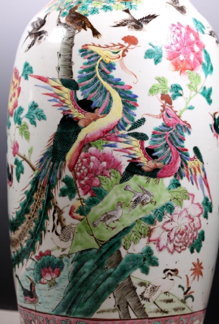 Lg Chinese 19 C Famille Rose Porcelain Bird Vase - 6