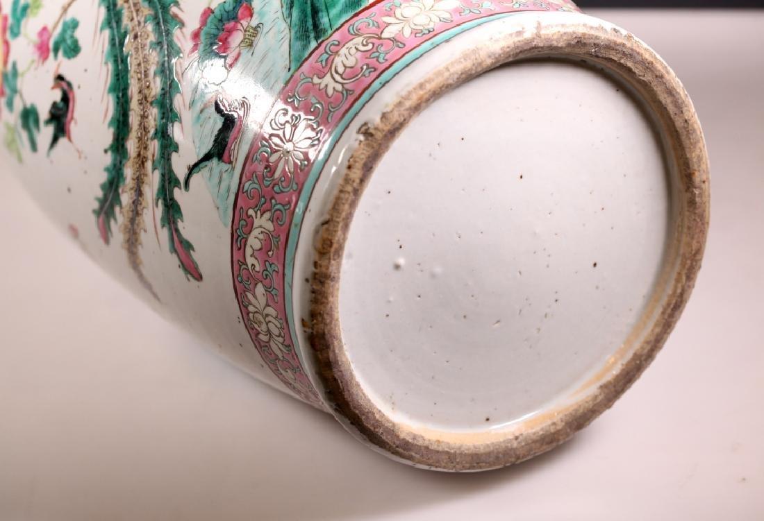 Lg Chinese 19 C Famille Rose Porcelain Bird Vase - 7