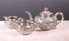 Antique Chinese Silver Teapot Tea Service,1003.3G