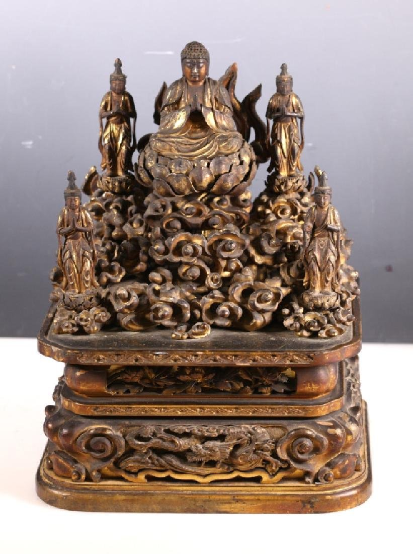 Rare 18 C Japanese Gold Lacquer Buddha & Court