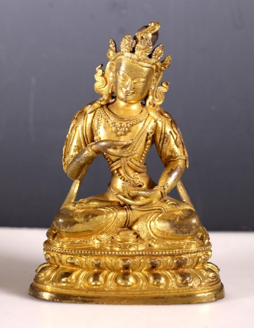 Tibetan 19 C Gilt Bronze Seated Buddha on Throne