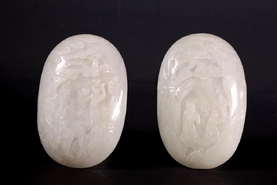 Two Fine 18th C Chinese Carved White Jade Plaques