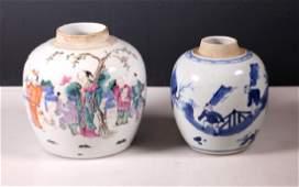 2 Chinese Porcelain Jars 18 C BW 19 C Enameled