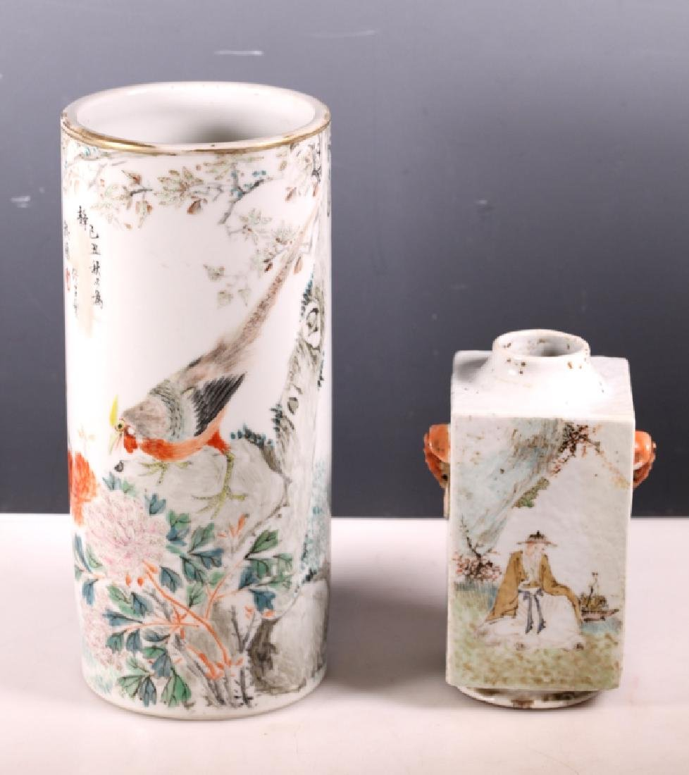 """Chinese Artist Porcelain """"Cong"""" Vase; & Hat Stand"""