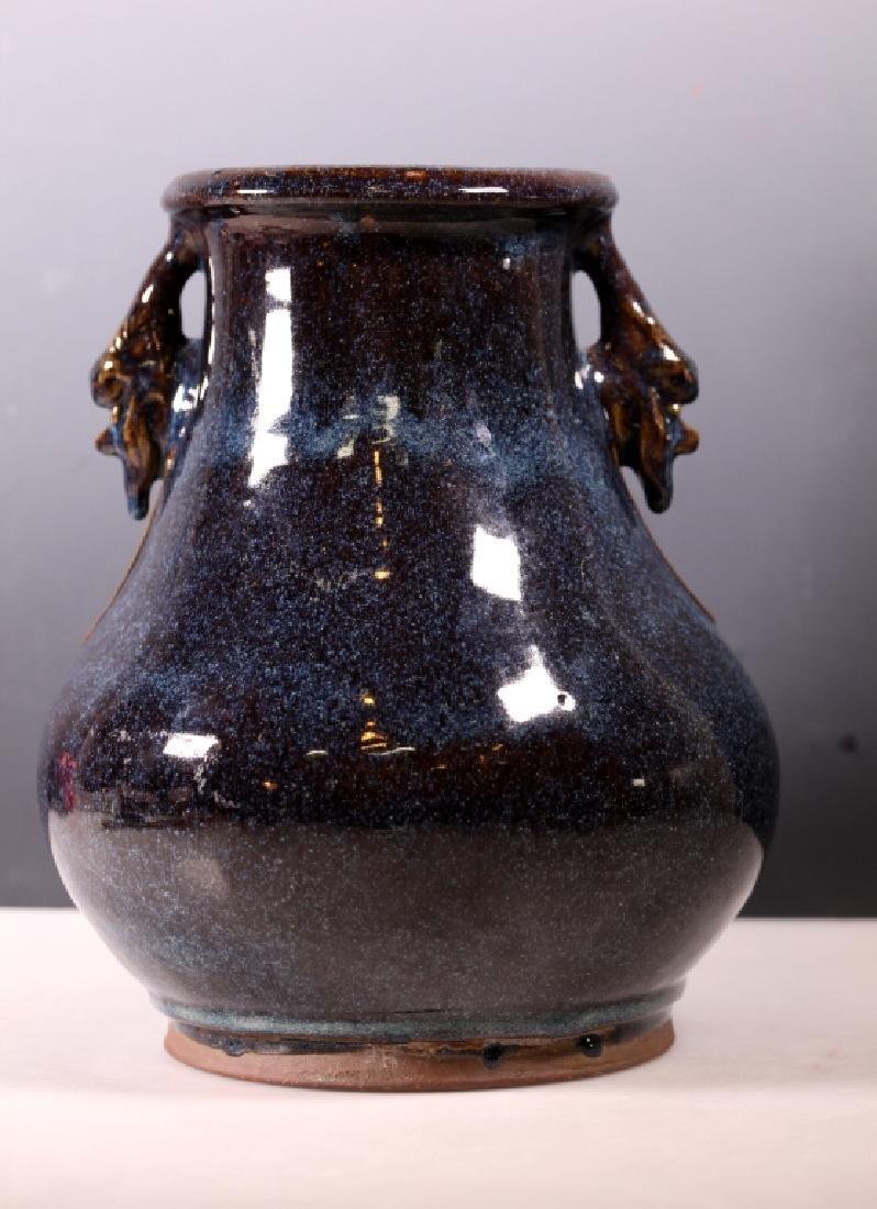 Rare Chinese 19C Yixing Ceramic Vase; Junyao Glaze