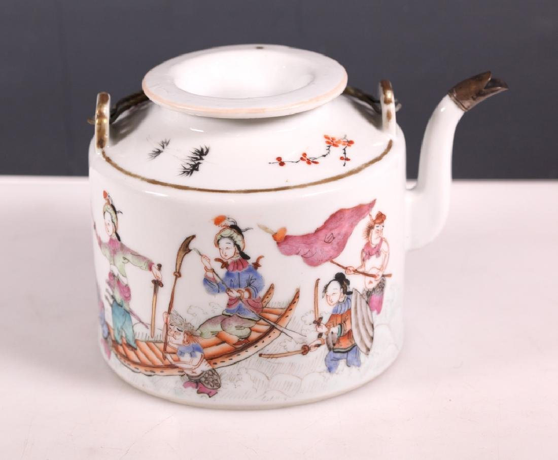 19C Chinese Enameled Porcelain Teapot Tongzhi Mark