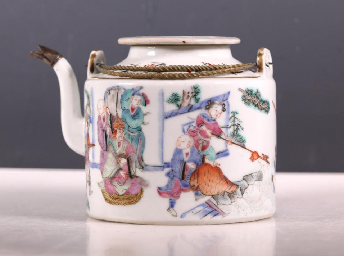 19C Chinese Enameled Porcelain Teapot Tongzhi Mark - 2