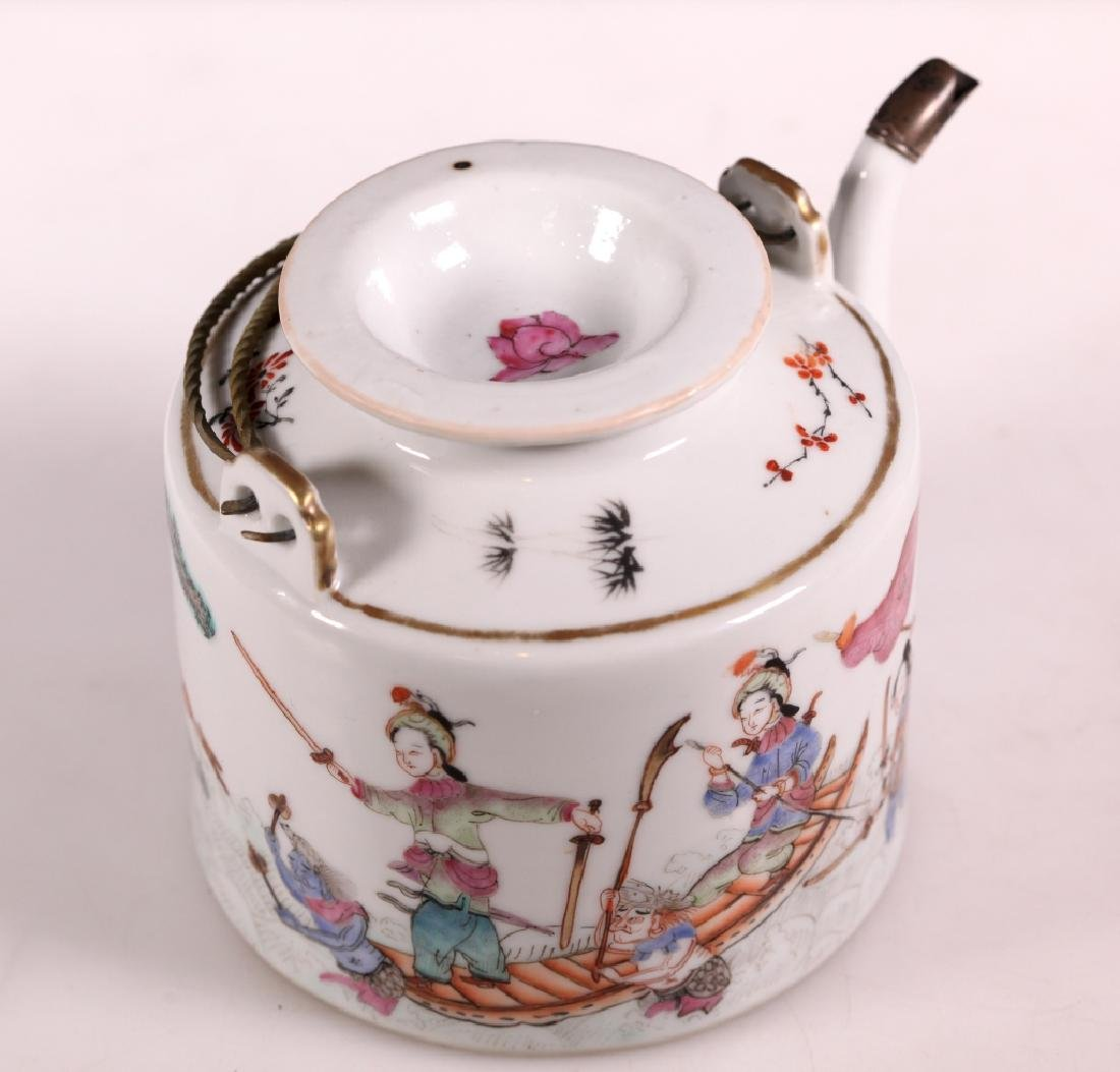 19C Chinese Enameled Porcelain Teapot Tongzhi Mark - 3