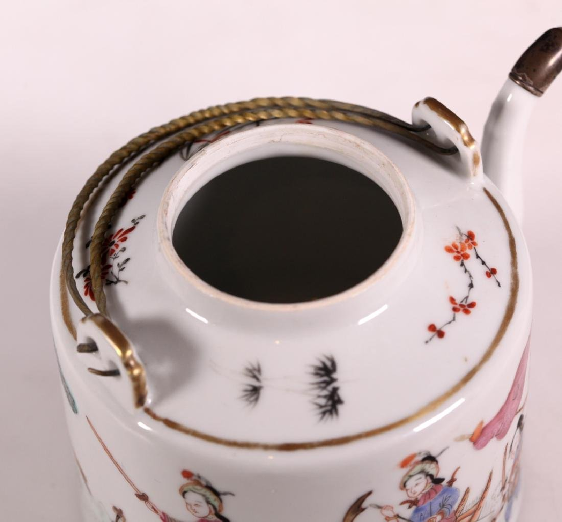 19C Chinese Enameled Porcelain Teapot Tongzhi Mark - 4