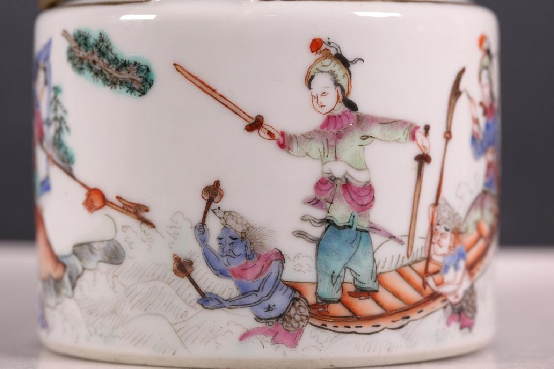 19C Chinese Enameled Porcelain Teapot Tongzhi Mark - 6