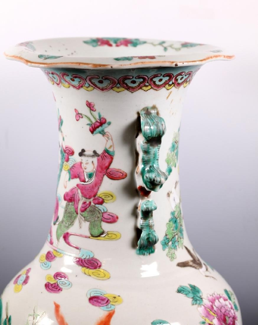 Lg Chinese Famille Rose Porcelain 8-Immortals Vase - 3