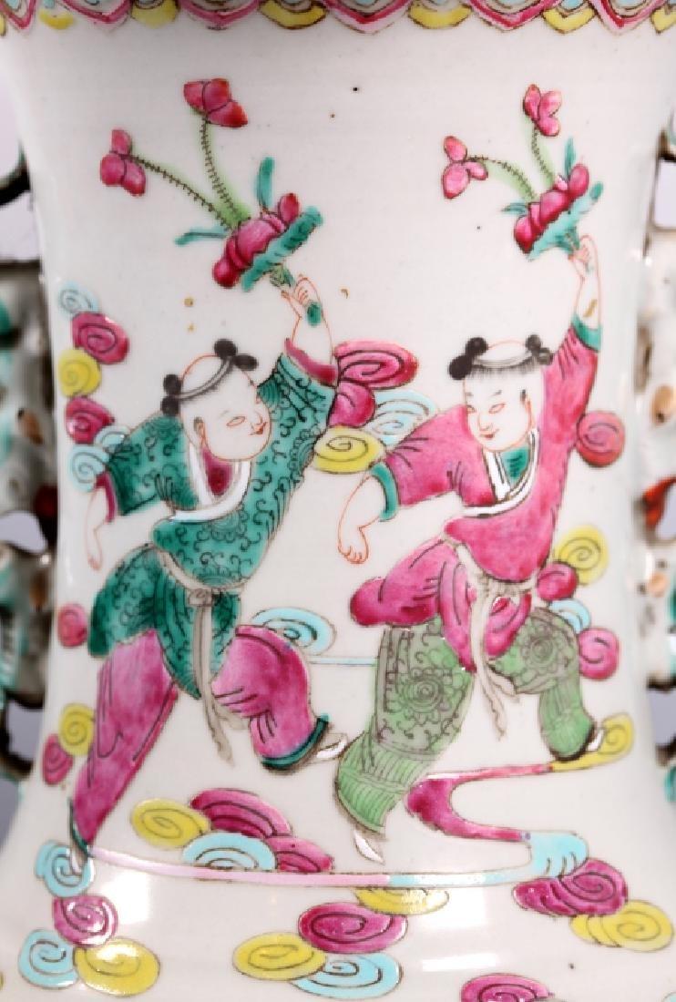 Lg Chinese Famille Rose Porcelain 8-Immortals Vase - 4