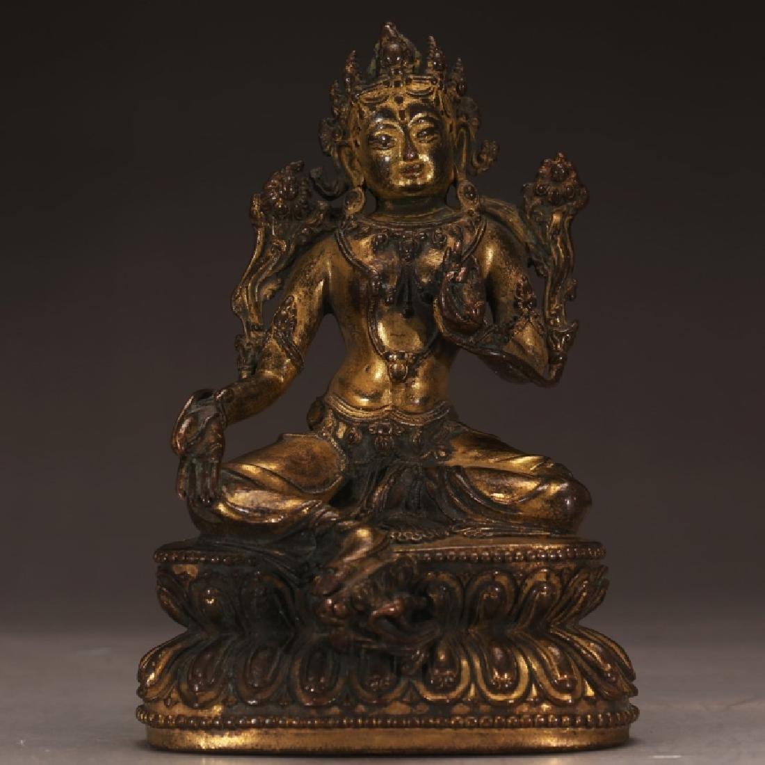 Tibetan Qing Tara in Gilt Bronzeon Double Stand