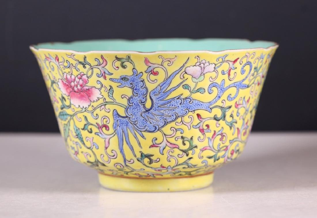 Chinese 19 C Famille Rose on Yellow Porcelain Bowl
