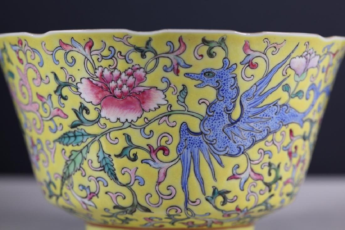 Chinese 19 C Famille Rose on Yellow Porcelain Bowl - 5