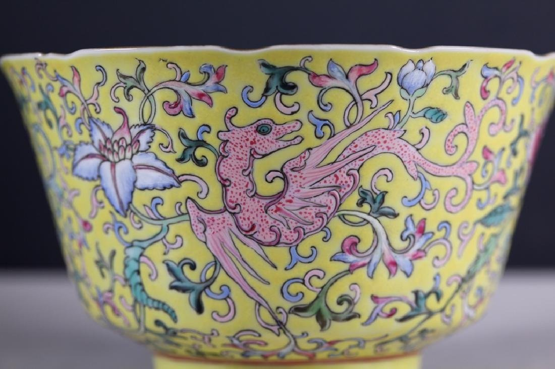 Chinese 19 C Famille Rose on Yellow Porcelain Bowl - 6