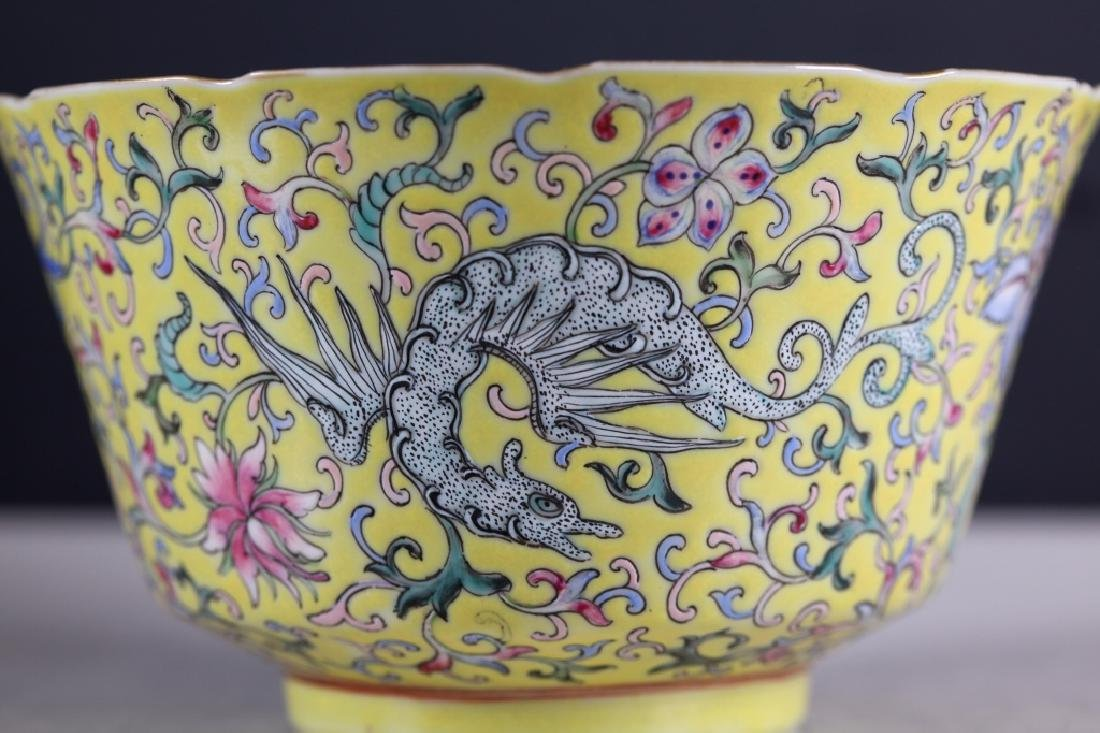 Chinese 19 C Famille Rose on Yellow Porcelain Bowl - 7