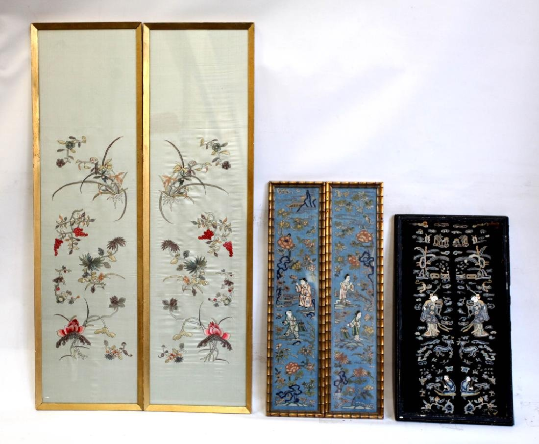 Three Pairs Chinese Embroidered Silk Sleeve Ends
