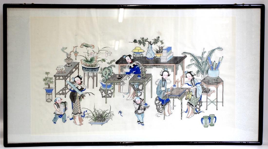 Lg Chinese Ink & Color Painting; Women Scholars