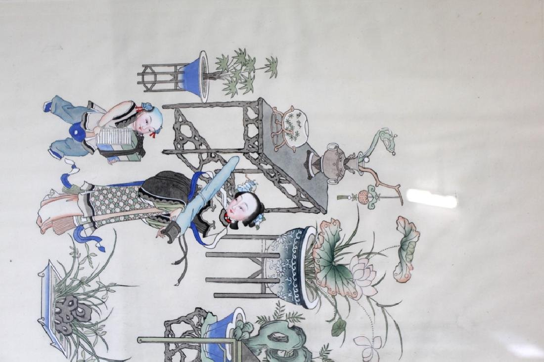Lg Chinese Ink & Color Painting; Women Scholars - 2