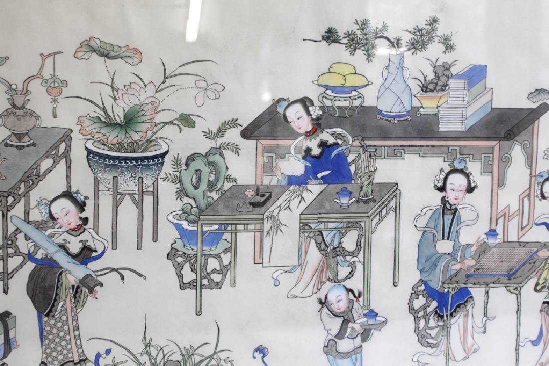 Lg Chinese Ink & Color Painting; Women Scholars - 3
