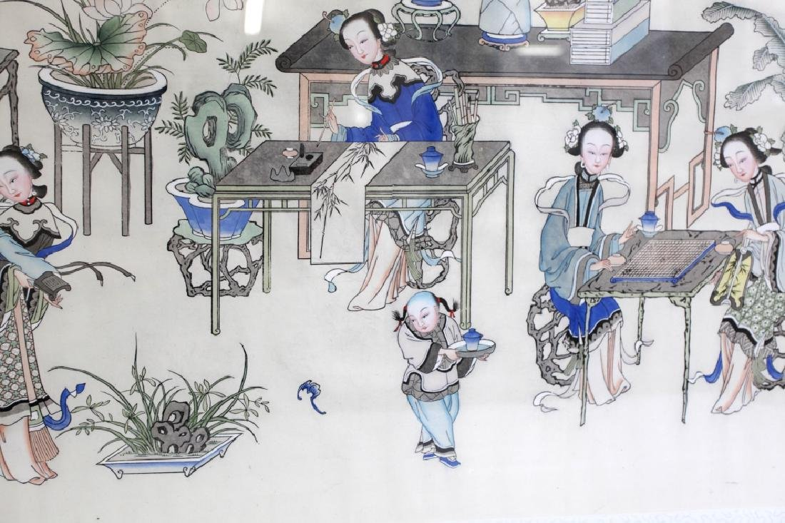 Lg Chinese Ink & Color Painting; Women Scholars - 4