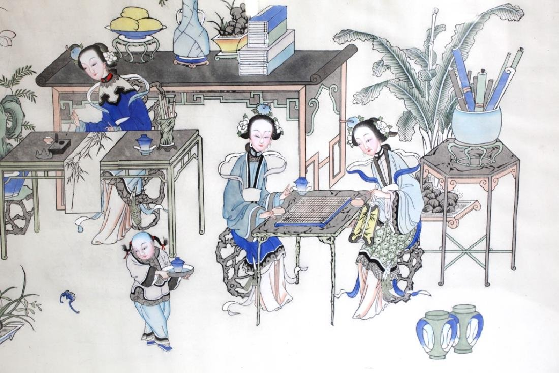 Lg Chinese Ink & Color Painting; Women Scholars - 5