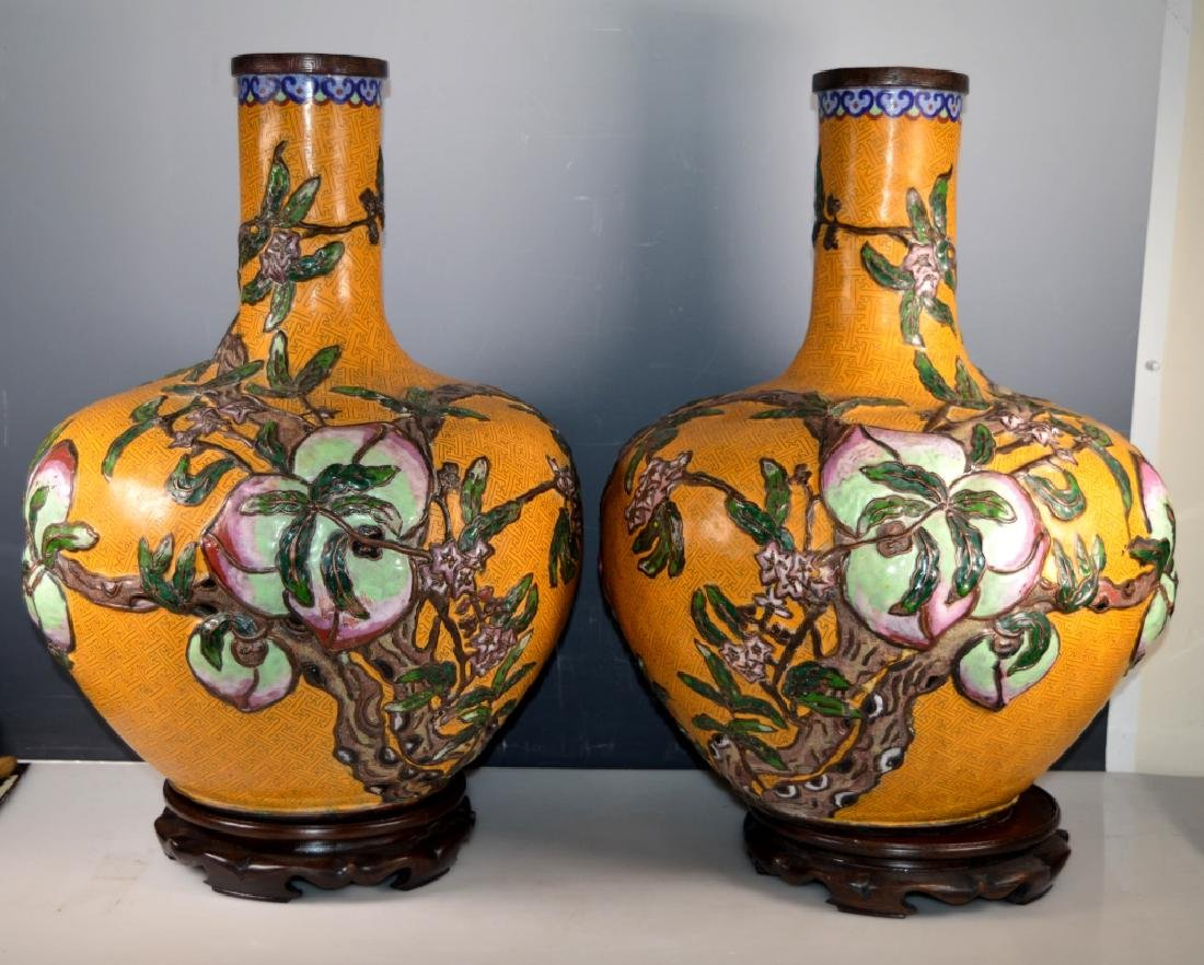 Lg Pr Chinese 9-Peaches Cloisonne/Champleve Vases