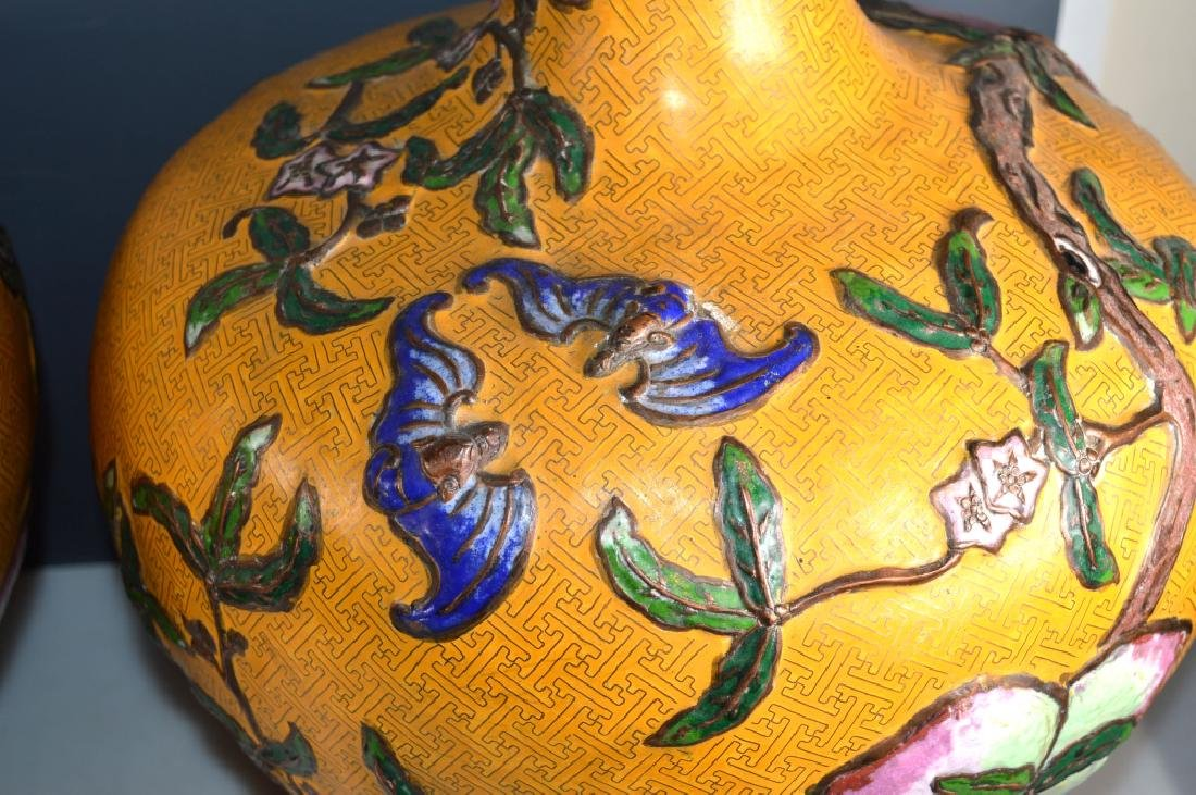 Lg Pr Chinese 9-Peaches Cloisonne/Champleve Vases - 7