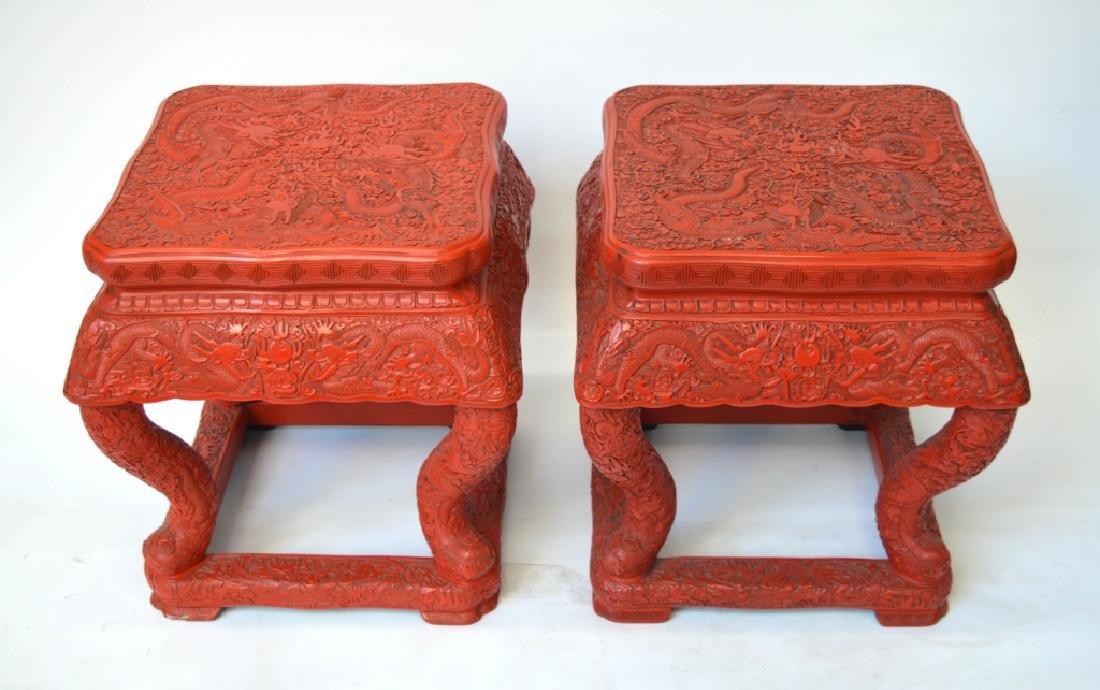 19 C Pr Chinese Cinnabar Lacquer Dragon Stools