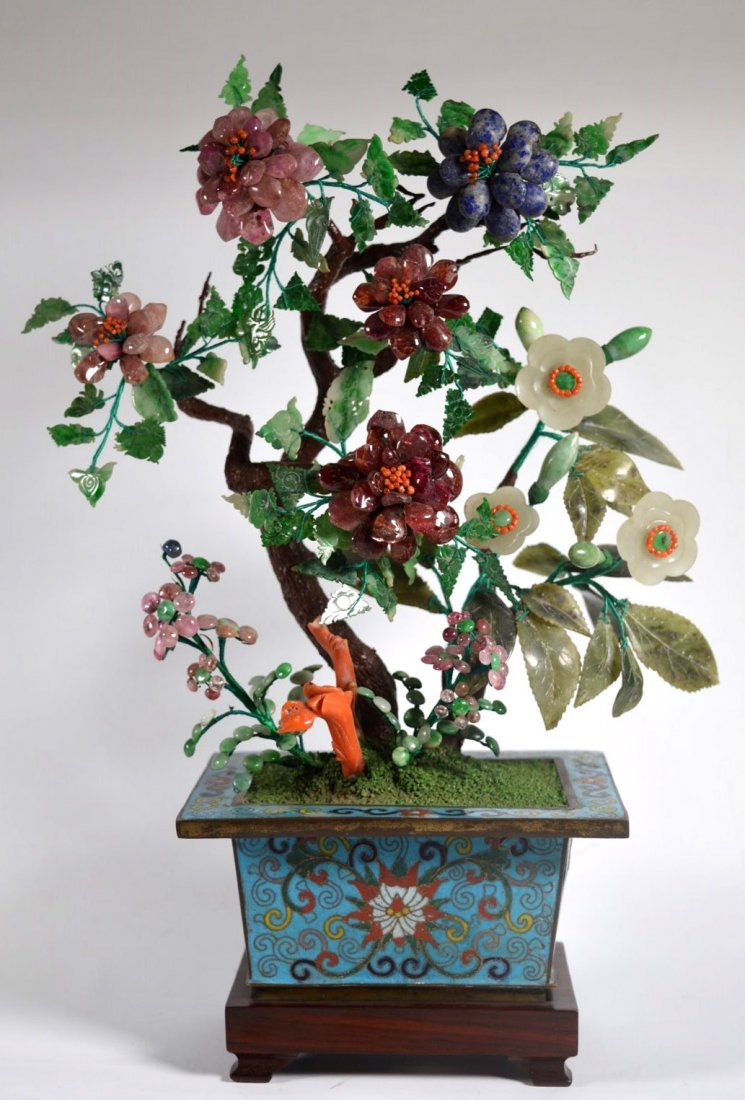 Chinese Jade Tree from 19 C Carved Stones
