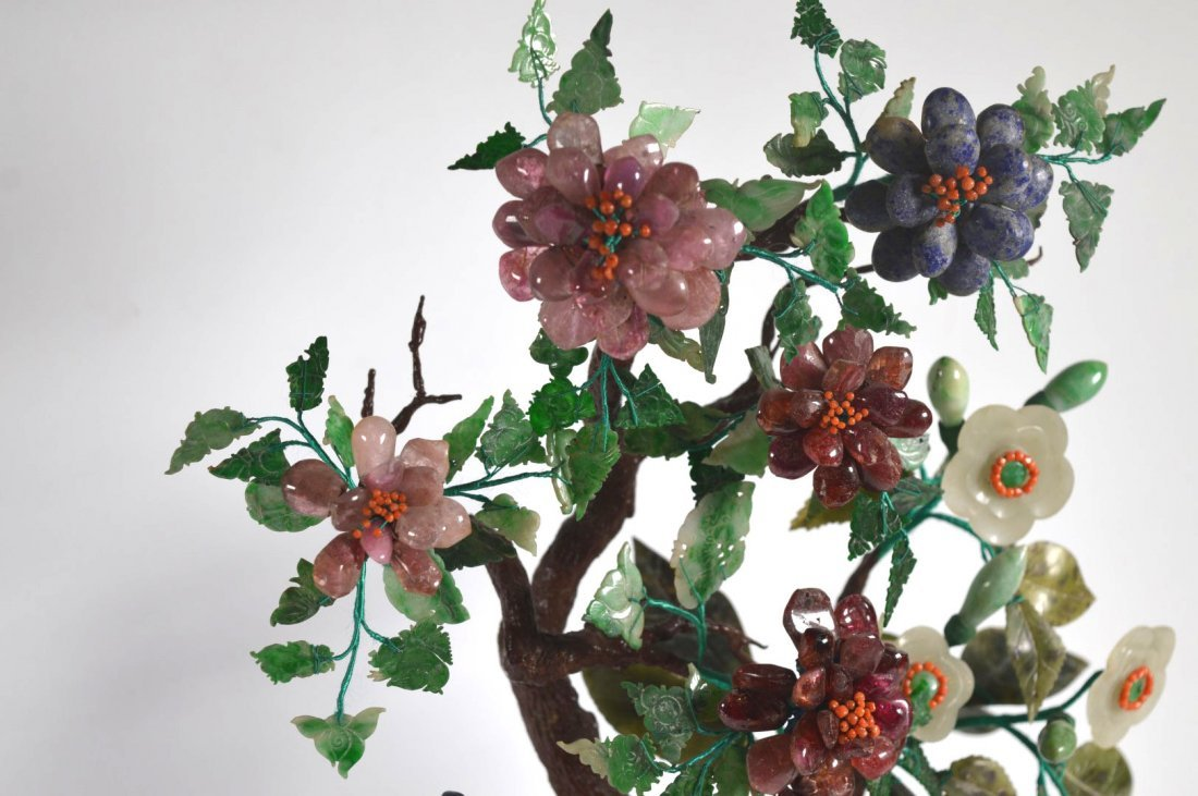Chinese Jade Tree from 19 C Carved Stones - 3