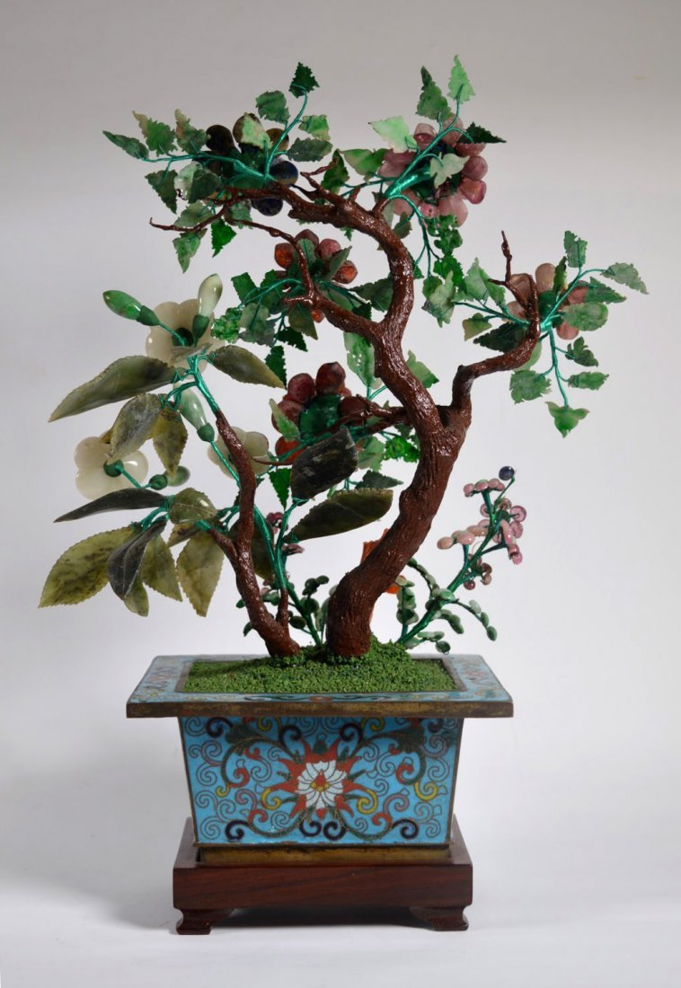 Chinese Jade Tree from 19 C Carved Stones - 6