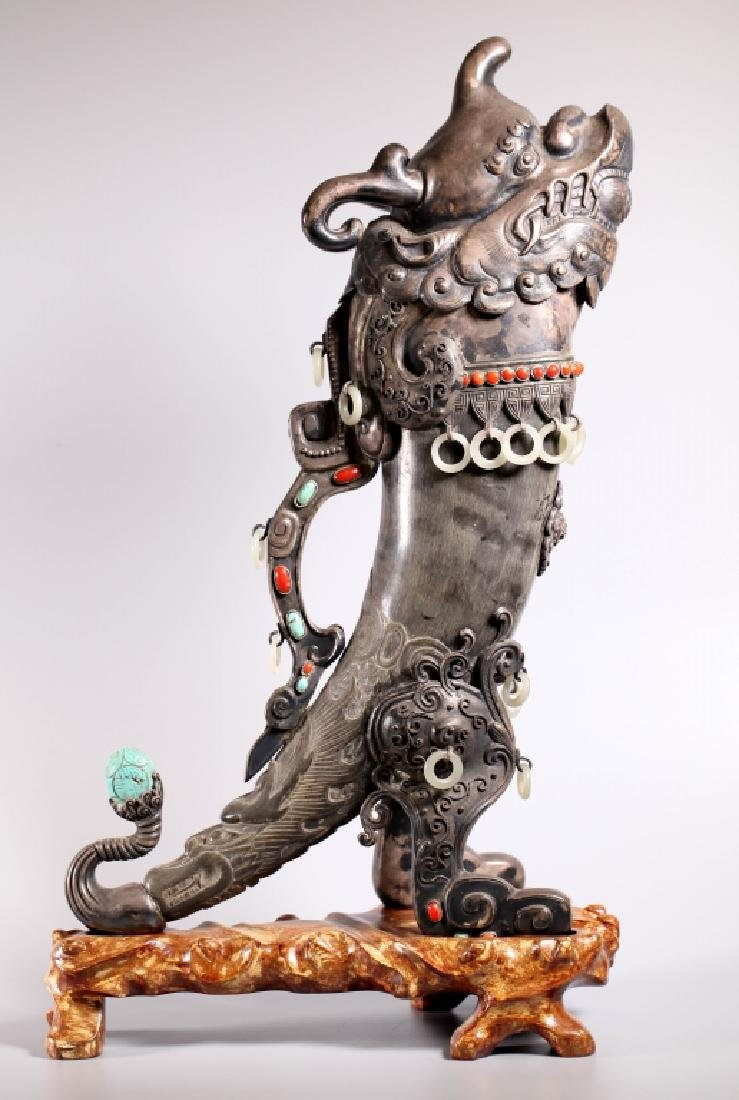 Tibetan Silver, Coral, Turquoise Covered Rhyton