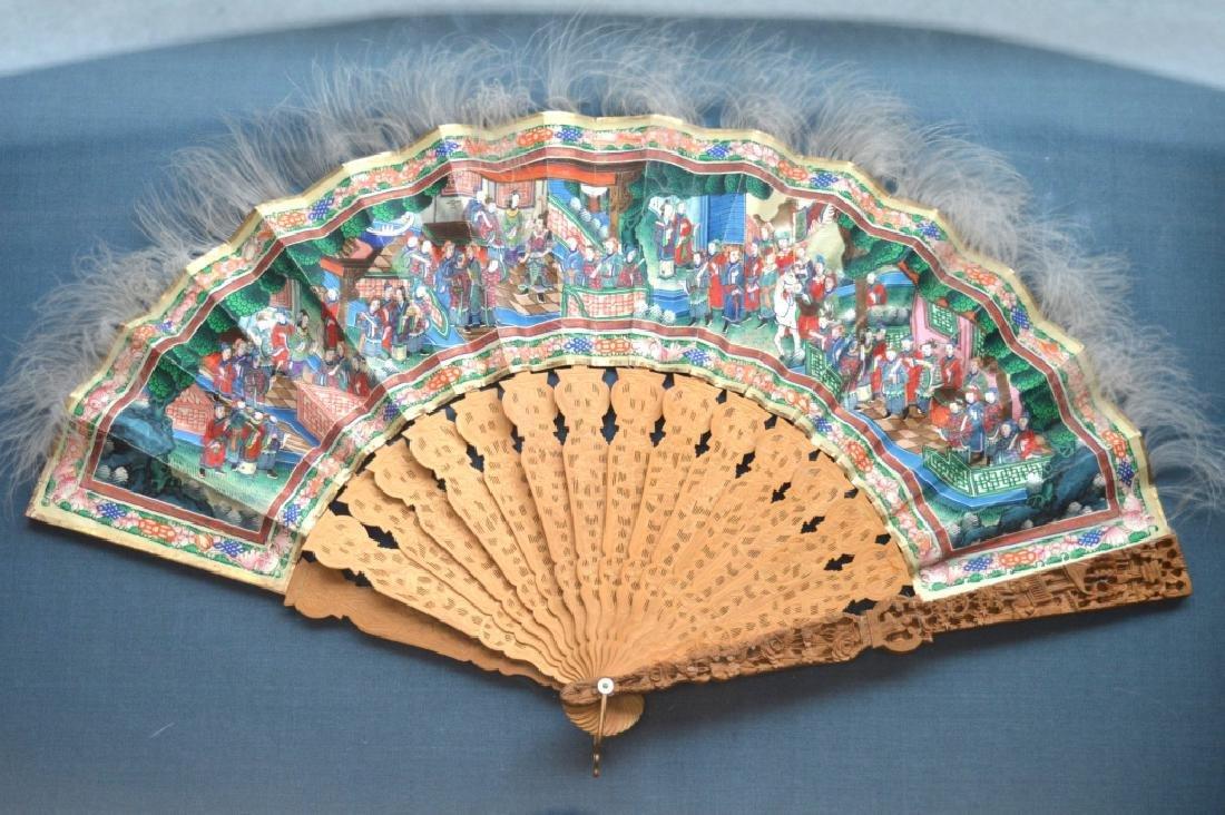 Good 19 C Chinese Sandalwood & Silk Fan