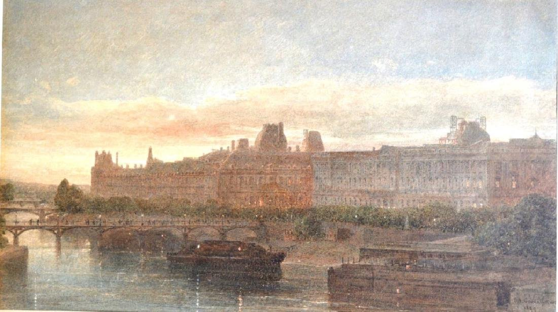 "Large Watercolor of ""The Louvre"" 1869"