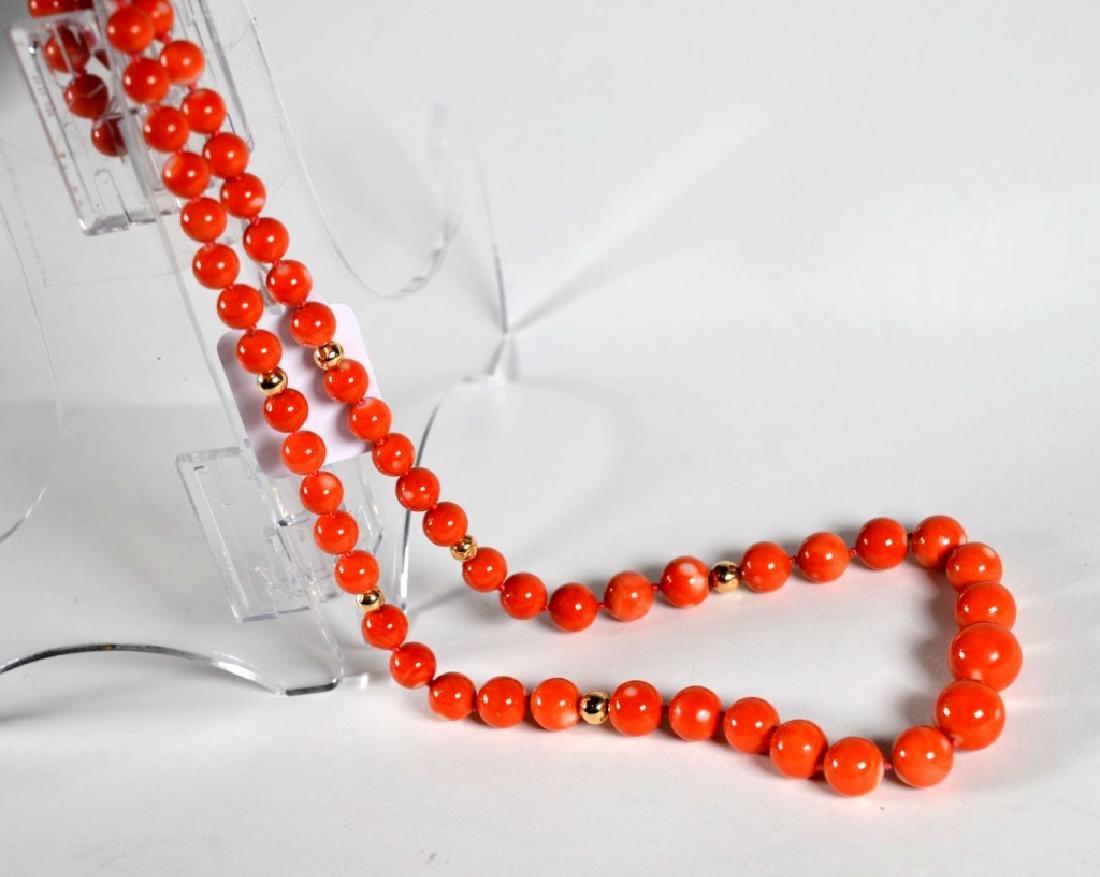 Coral Bead Necklace, 14K Closure