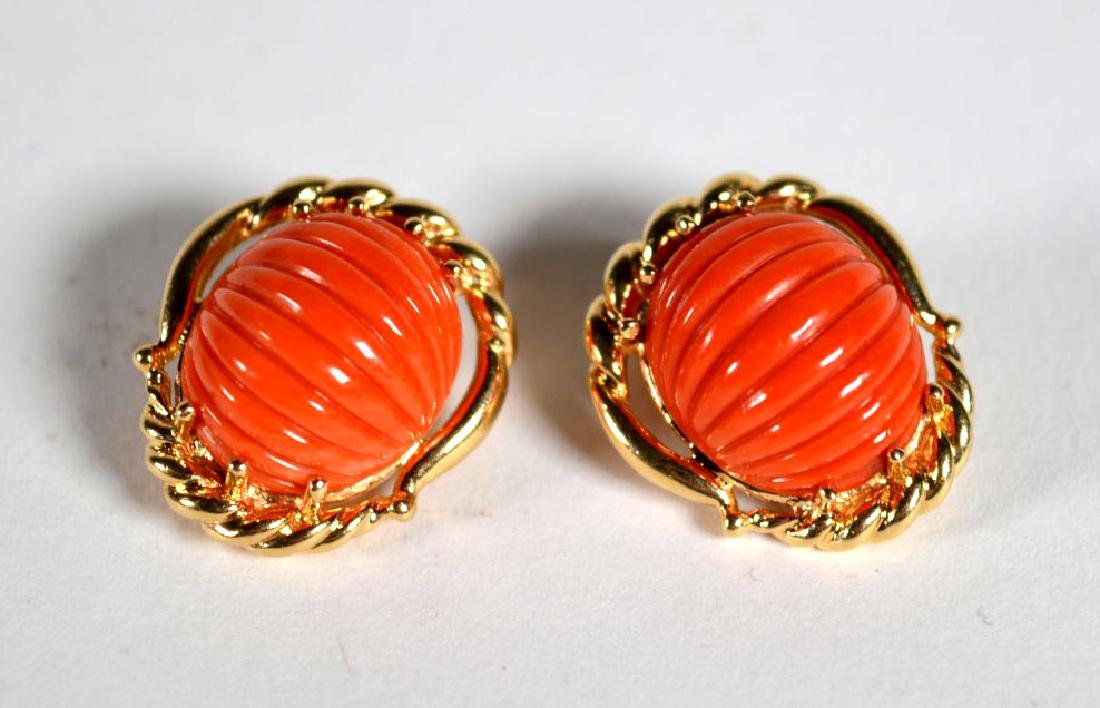 Pair Fluted Cabochon Coral Earrings in 14K Gold