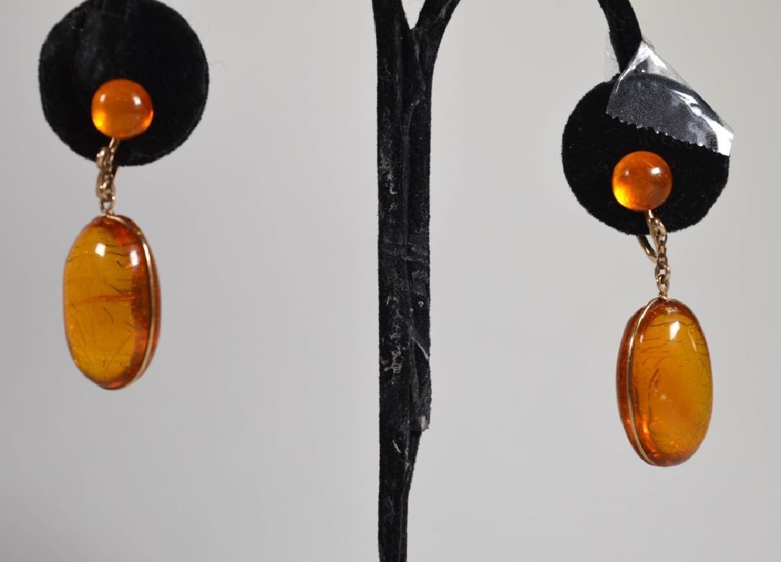 Pair Amber Oval Drop Earrings, 14K Screw Backs