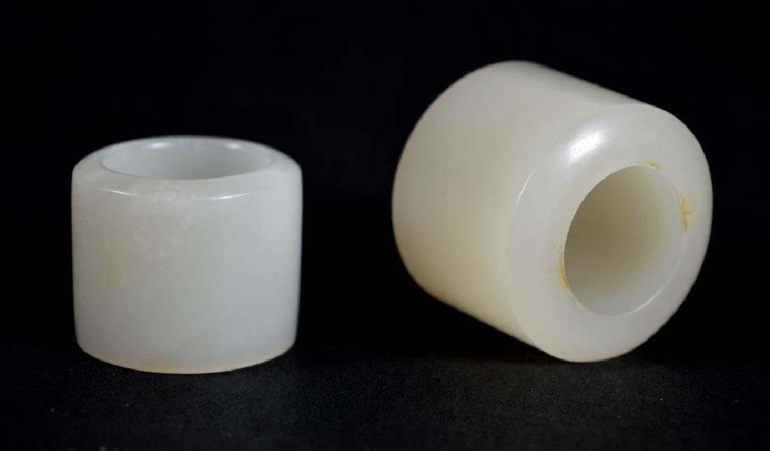 Two Chinese Qing Dynasty White Jade Archer's Rings