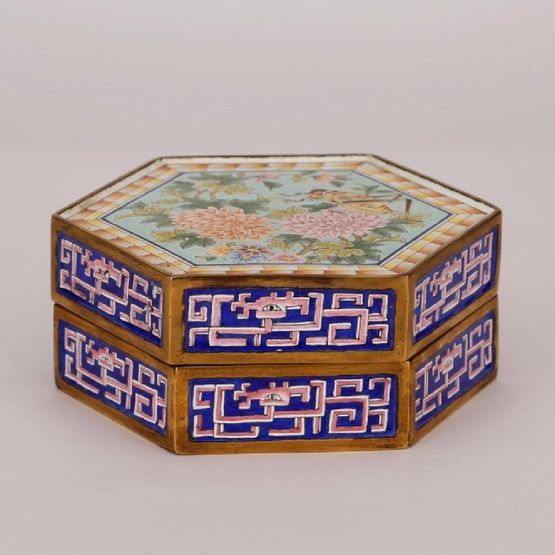 Chinese Canton Enamel Hexagonal Box & Cover