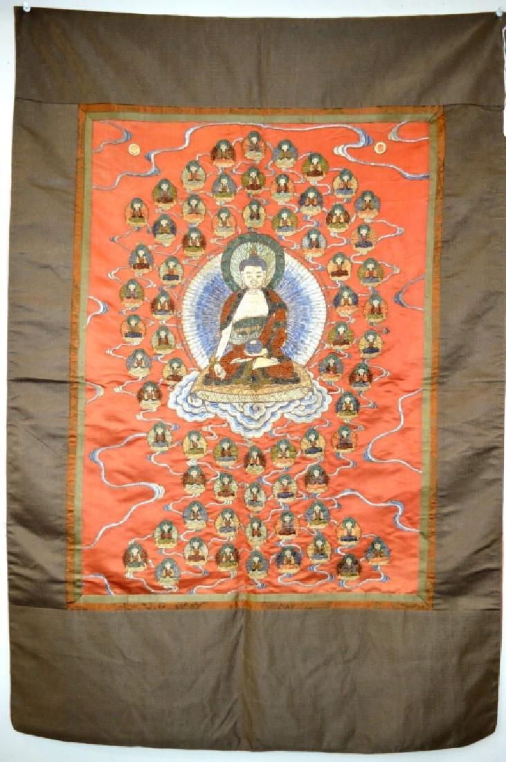 """Chinese/Tibet Embroidered """"100 Buddha"""" Thangka"""