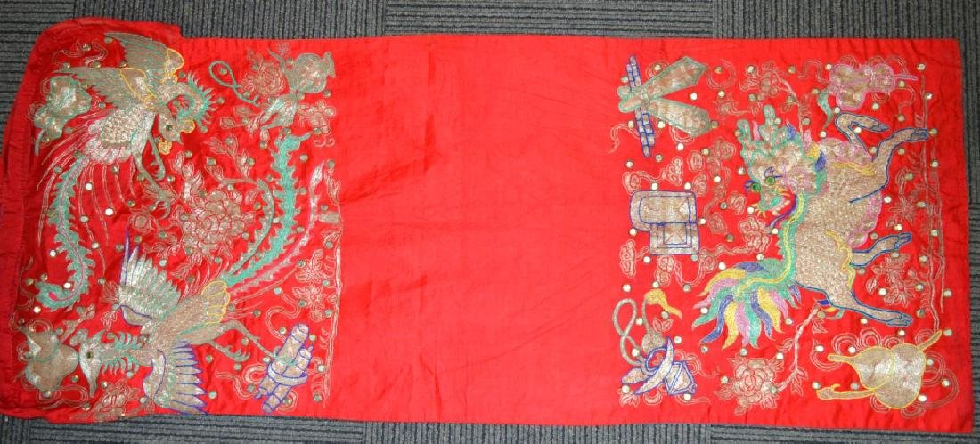 Chinese Late Qing Embroidered Silk Chair Cover